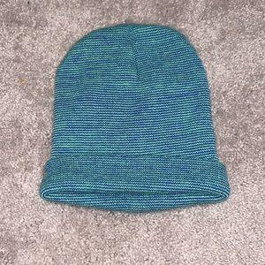 Blue and green beanie